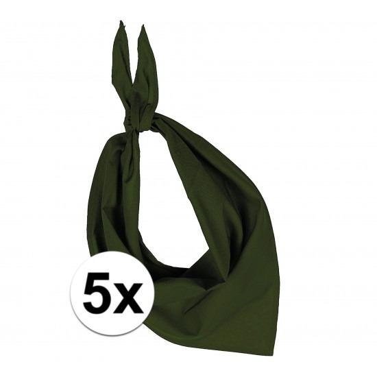 5 stuks olijf groen hals zakdoeken Bandana style