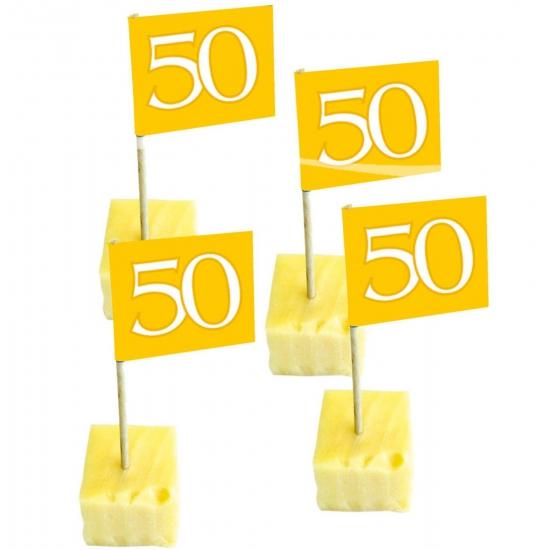 50x Cocktailprikkers 50 jaar thema goud