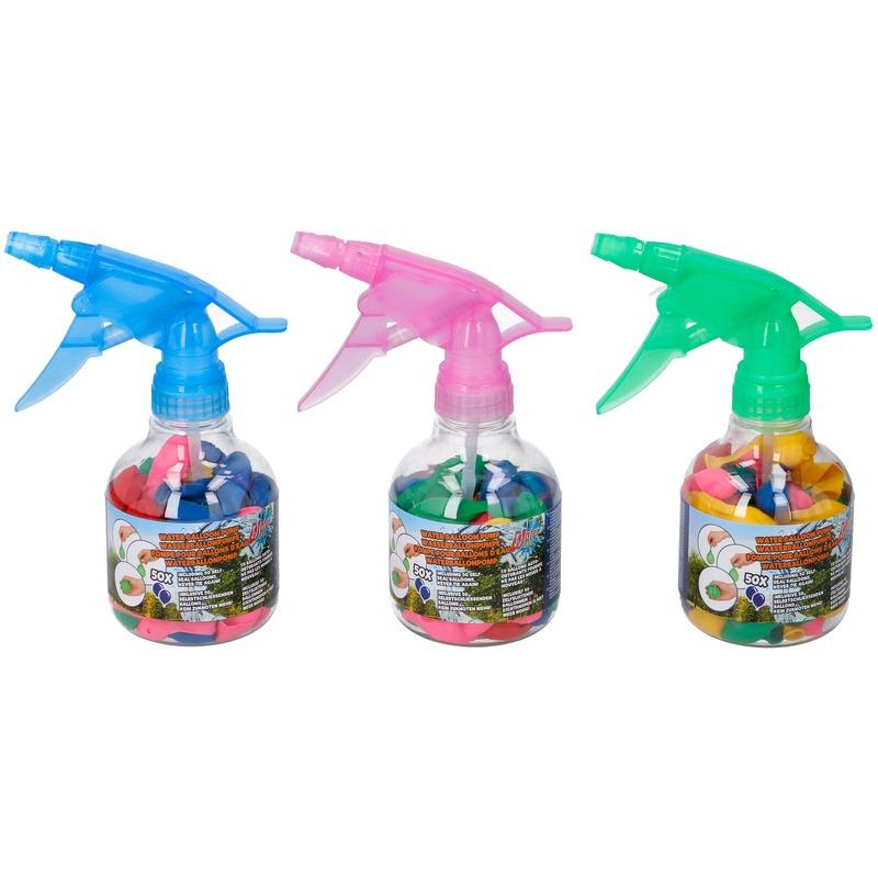 50x Gekleurde waterballonnen zelfsluitend met waterspuit