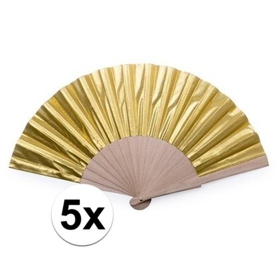 5x Gouden waaier 42x23 cm