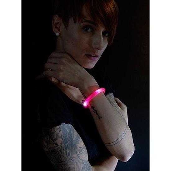 5x Lichtgevende armband rood met LED lampjes voor volwassenen