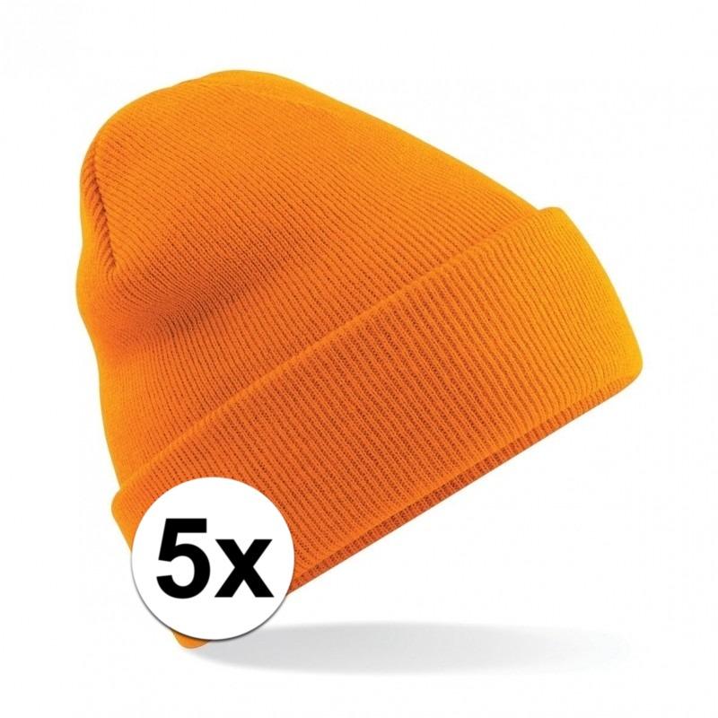 5x Warme gebreide schaatsmuts in het oranje