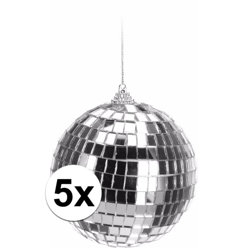 5x Zilveren disco kerstballen 10 cm