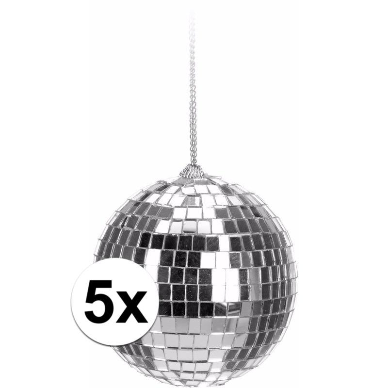 5x Zilveren disco kerstballen 6 cm