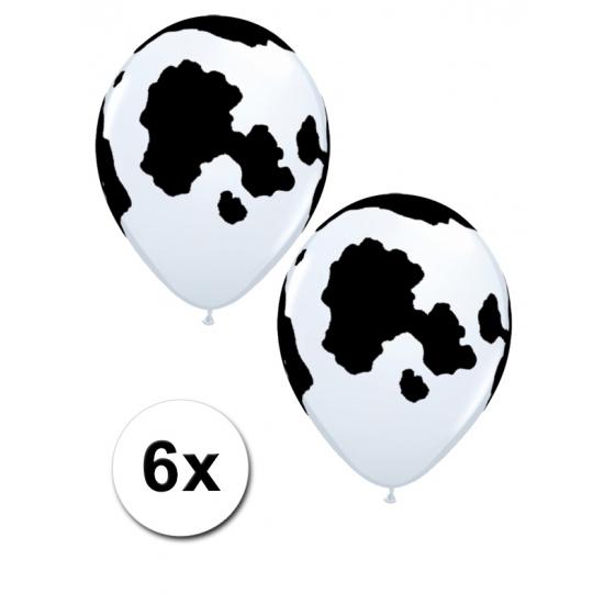 6 ballonnen met koeien vlekken 28 cm
