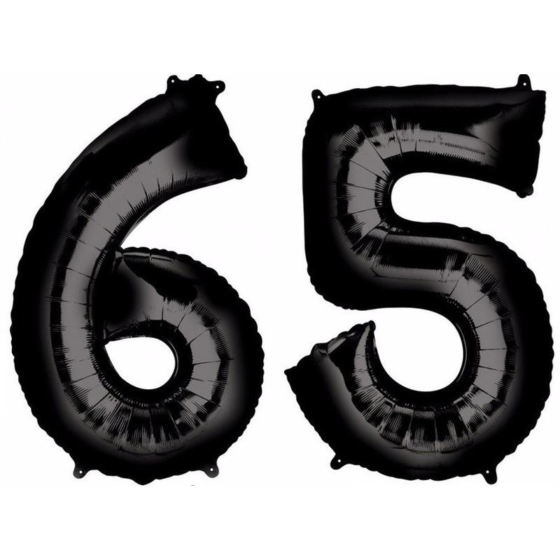 65 jaar leeftijd helium/folie ballonnen zwart feestversiering