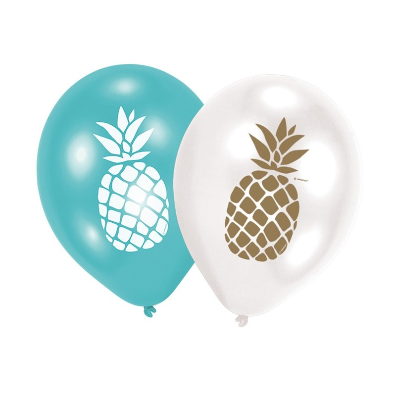 6x Ananas feest ballonnen blauw en wit