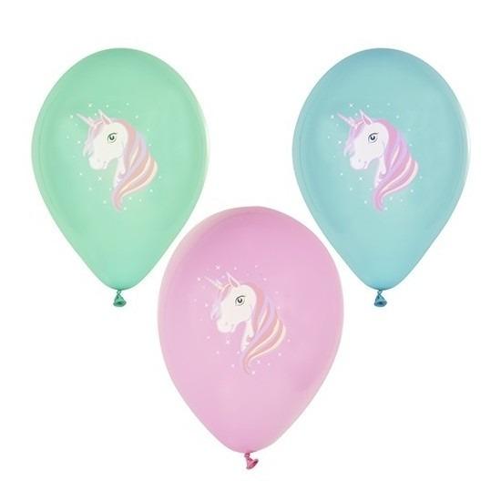 6x Eenhoorn thema verjaardag feest ballonnen gekleurd