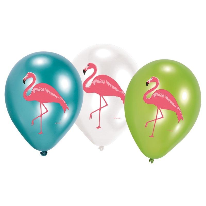 6x Flamingo feest ballonnen blauw/groen/wit