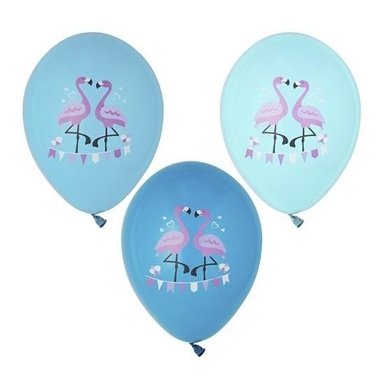 6x Flamingo feest ballonnen blauw