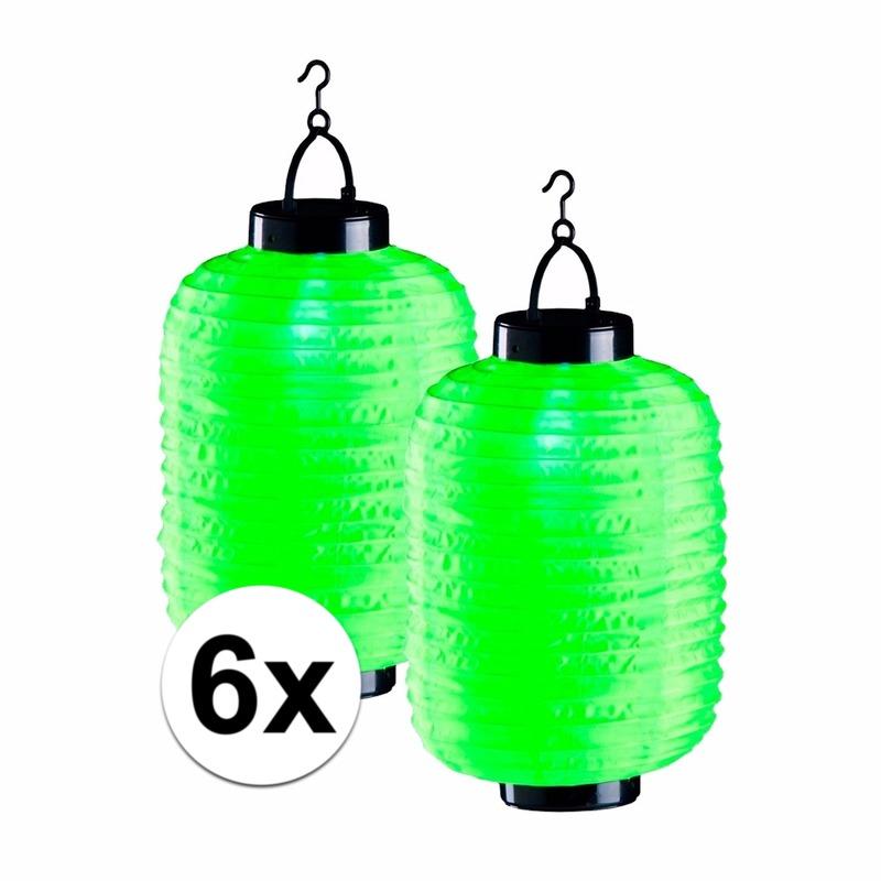 6x lampionnen op zonne energie groen