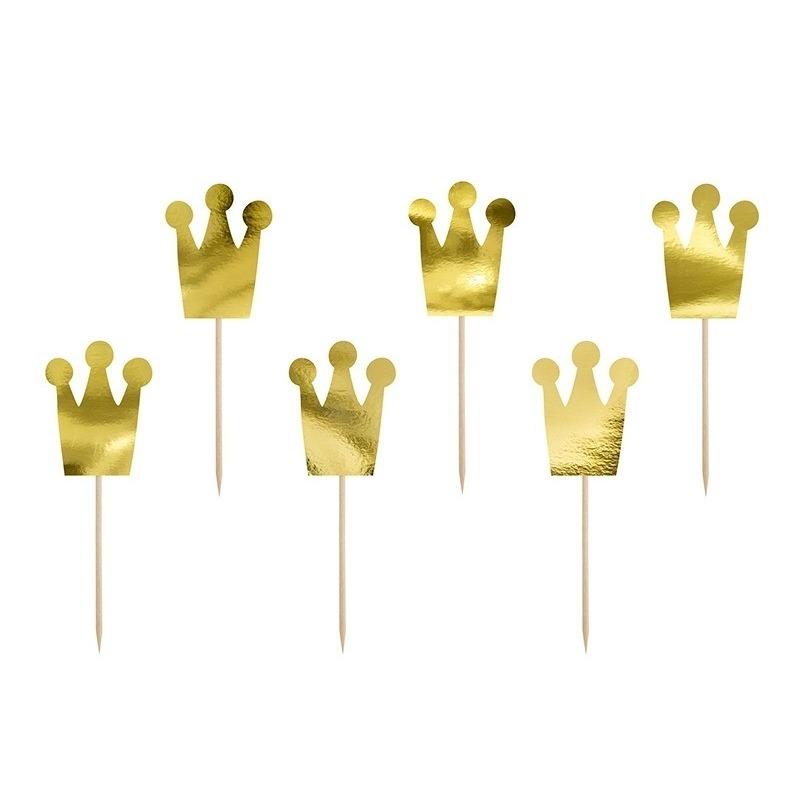 6x Prinsessen kroontjes feest prikkertjes 12 cm
