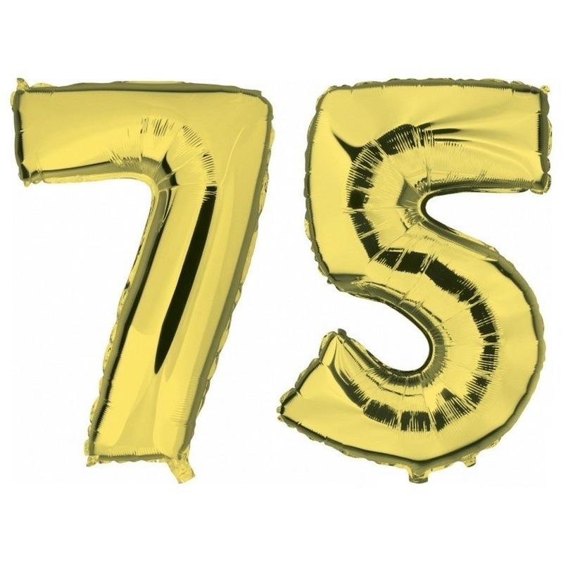 75 jaar leeftijd helium/folie ballonnen goud feestversiering