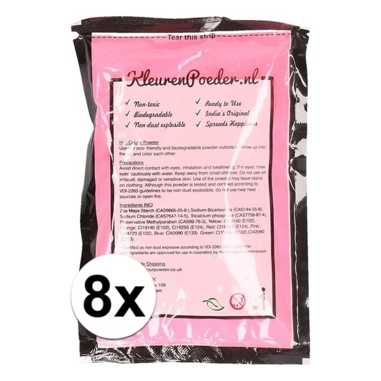 8x Holi poeder roze 100 gram
