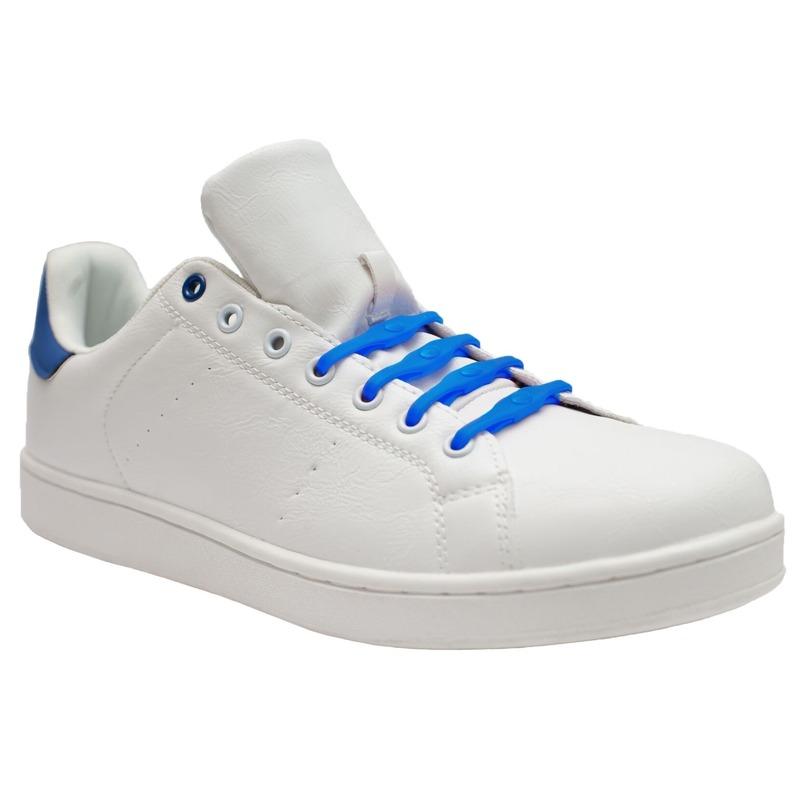 8x Kobalt blauwe schoenveters elastisch/elastiek siliconen voor brede voeten/schoenen