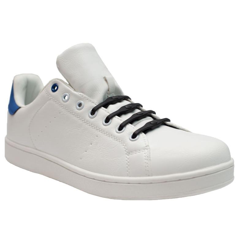 8x Navy blauwe schoenveters elastisch/elastiek siliconen voor brede voeten/schoenen