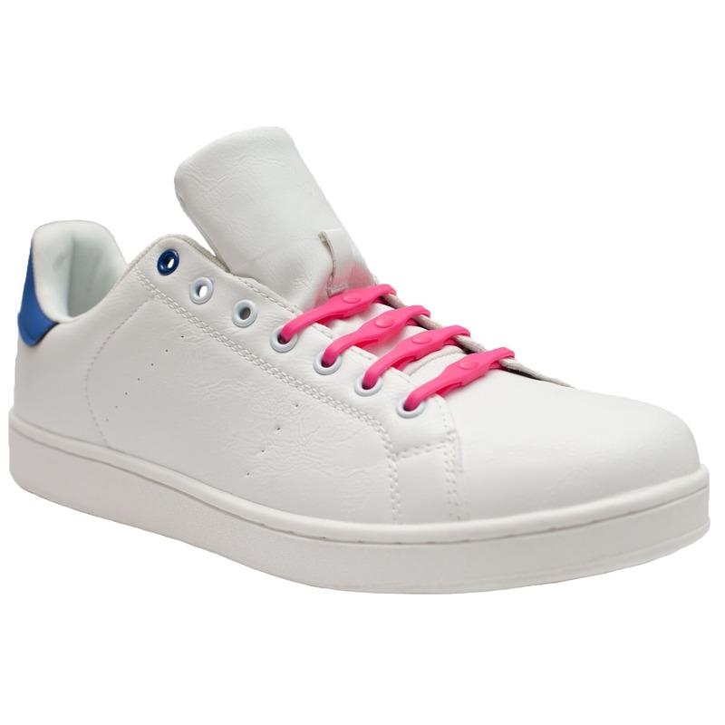 8x Roze schoenveters elastisch/elastiek siliconen voor brede voeten/schoenen