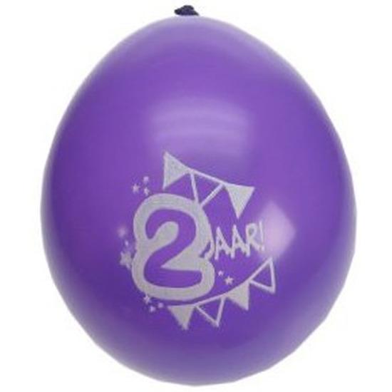 8x stuks 2 Jaar verjaardag ballonnen feestartikelen