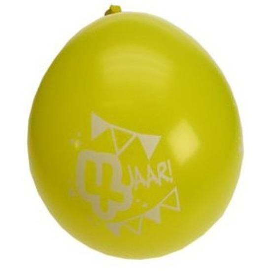 8x stuks 4 jarige feestartikelen ballonnen van 25 cm