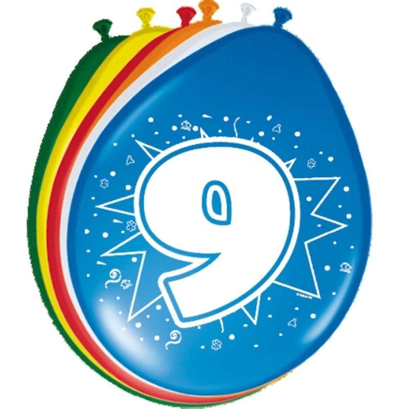 8x stuks Leeftijd ballonnen versiering 9 jaar