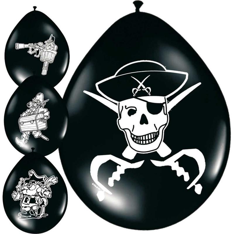 8x stuks Piraten ballonnetjes versiering