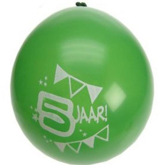 8x stuks verjaardag feest ballonnen 5 jaar thema van 25 cm