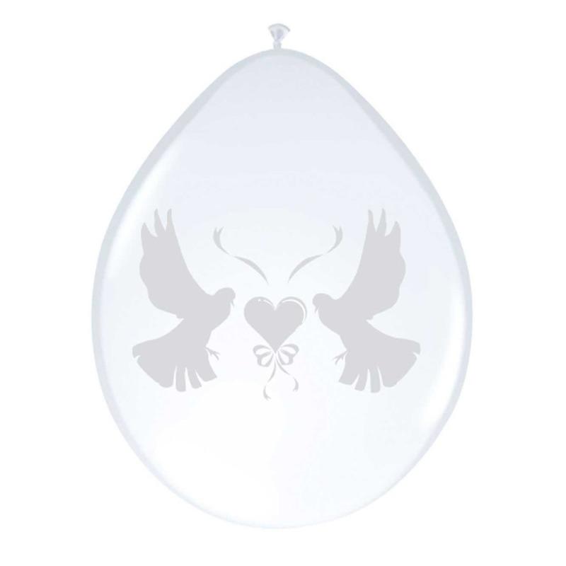 8x witte duifjes ballonnen