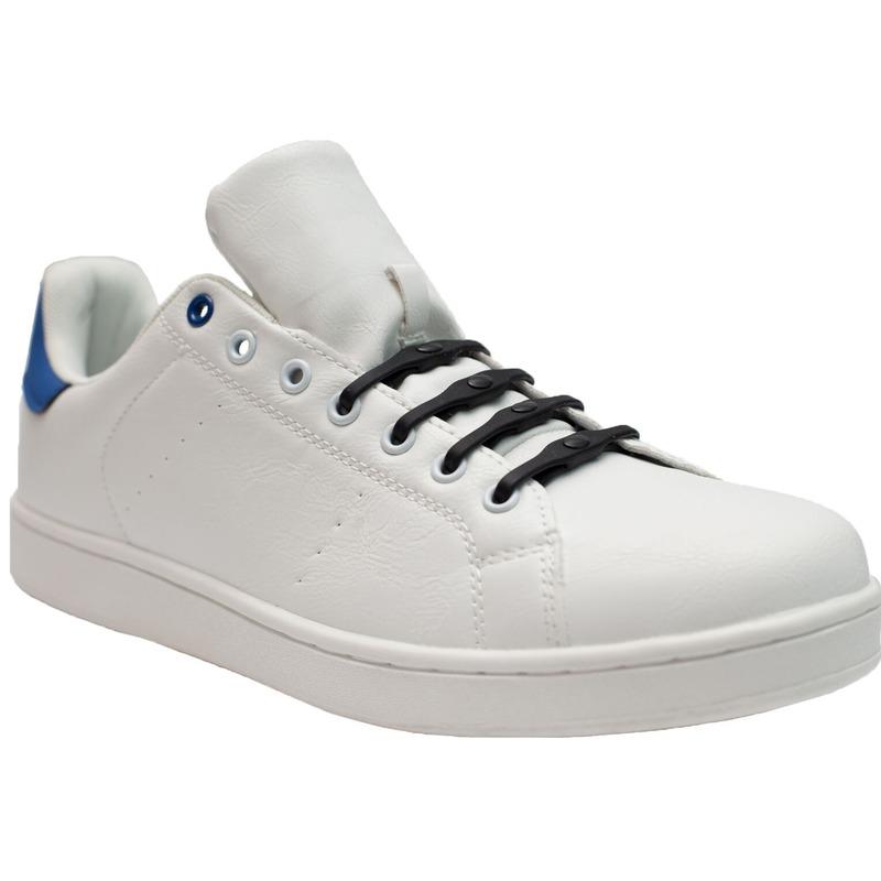 8x Zwarte schoenveters elastisch/elastiek siliconen voor brede voeten/schoenen