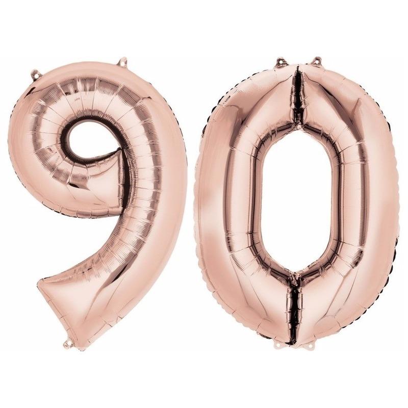 90 jaar leeftijd helium/folie ballonnen rose goud feestversiering