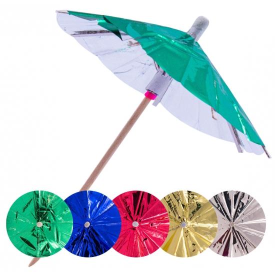 90x Gekleurde parasols prikkers 10 cm