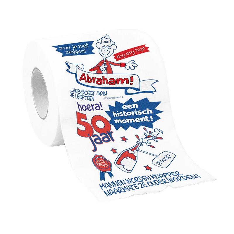 Abraham 50 jaar wc papier met grappige tekst cadeau - versiering