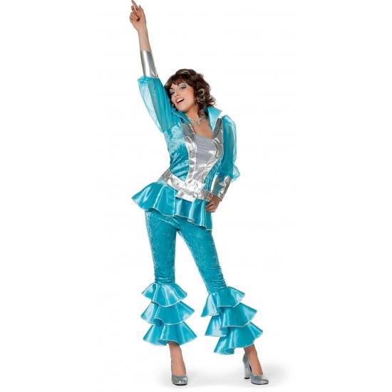 Babba disco kostuum blauw met zilver