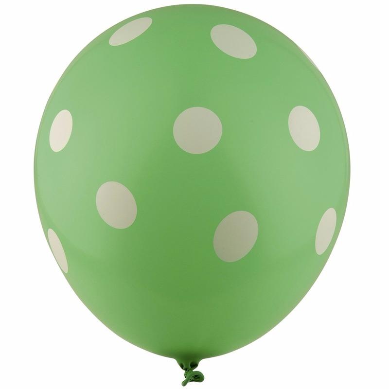 Ballonnen groen met witte stippen 30 cm 5st