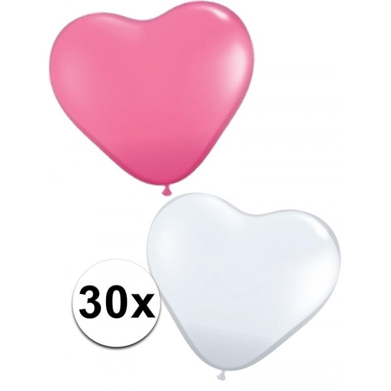 Ballonnen in de vorm van roze en witte hartjes 30 st