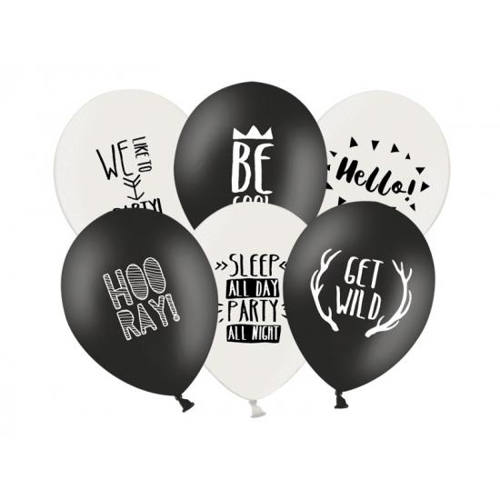 Ballonnen zwart/wit thema feest 6 stuks