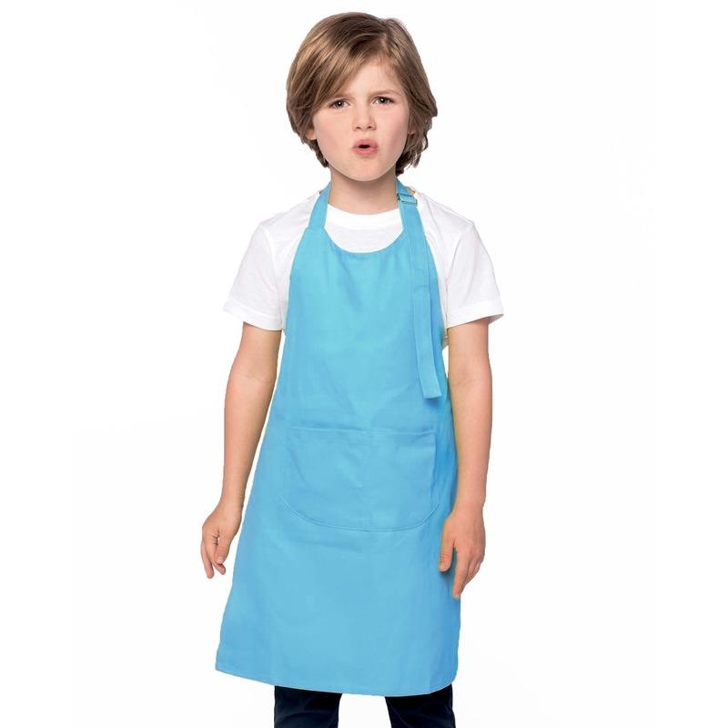 Basic keukenschort blauw voor kinderen