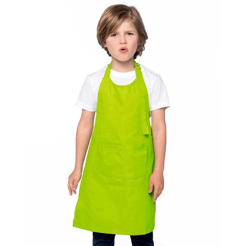 Basic keukenschort lime groen voor kinderen
