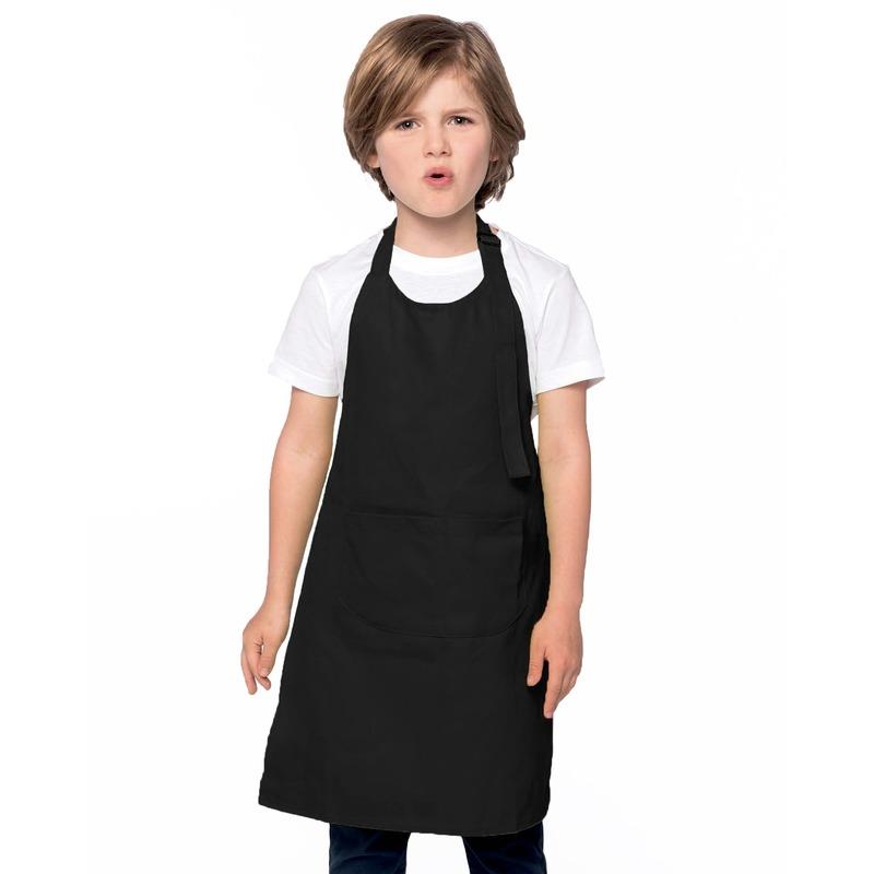 Basic keukenschort zwart voor kinderen