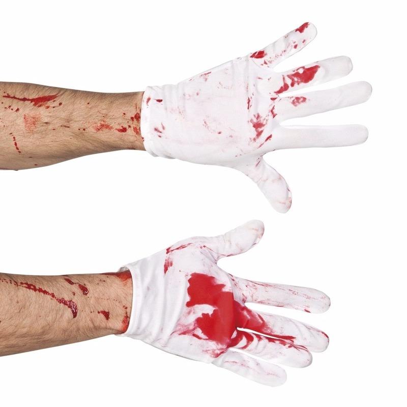 Bebloede witte handschoenen voor heren