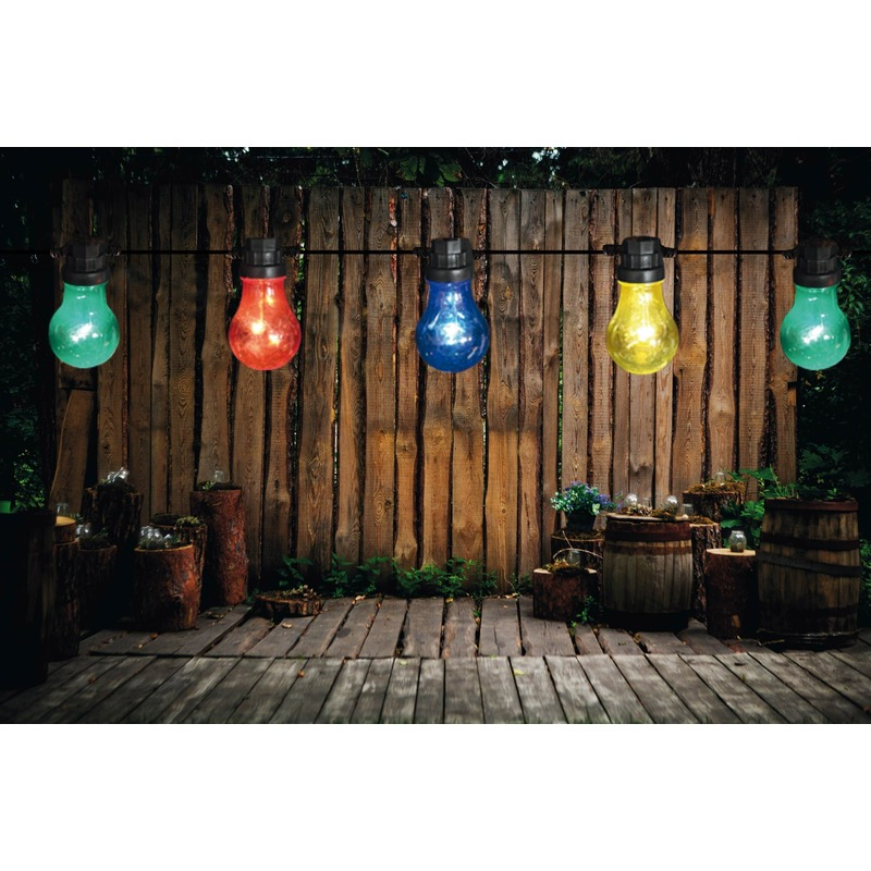 Binnen/buiten verlichting lichtsnoer 10 meter met gekleurde LED lampjes