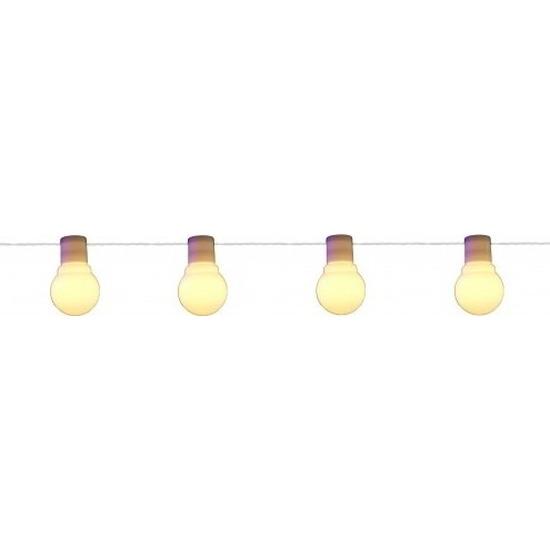 Binnen/buiten verlichting lichtsnoer 10 meter met warm witte LED lampjes