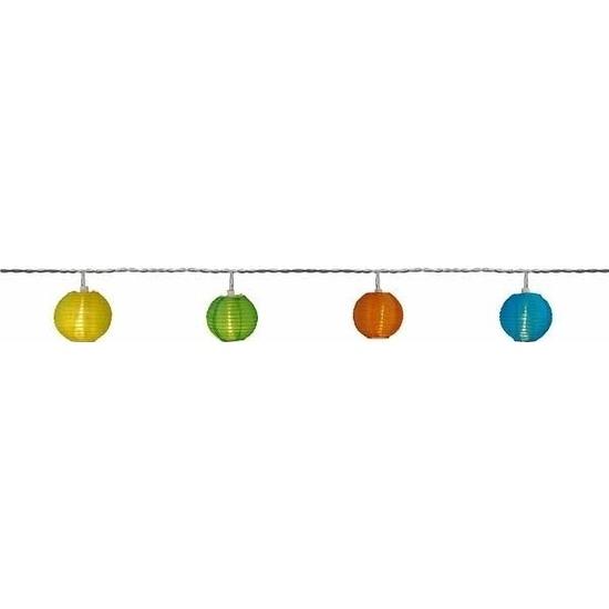 Binnen solar verlichting lichtsnoer 2,5 meter met warm gekleurde LED lampjes en lantaarns/lampionnen