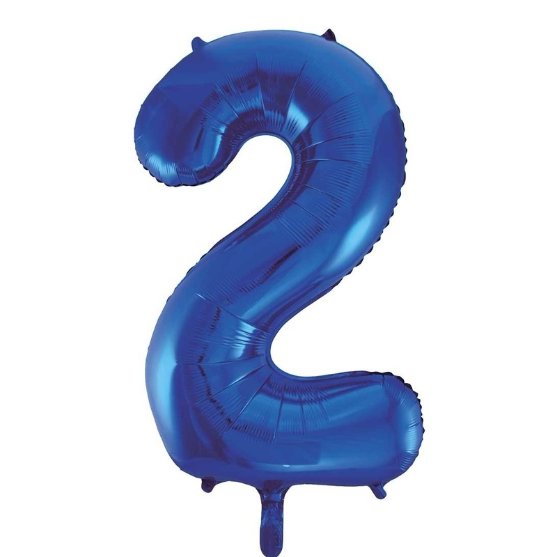 Blauw ballon cijfer 2