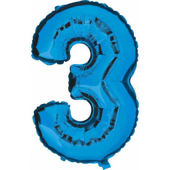 Blauw ballon cijfer 3