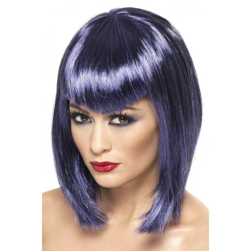 Blauw paarse punky pruik voor dames