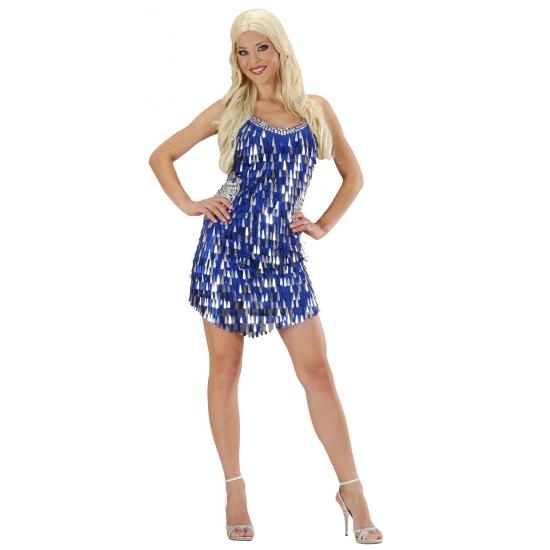 Blauw pailletten jurkje