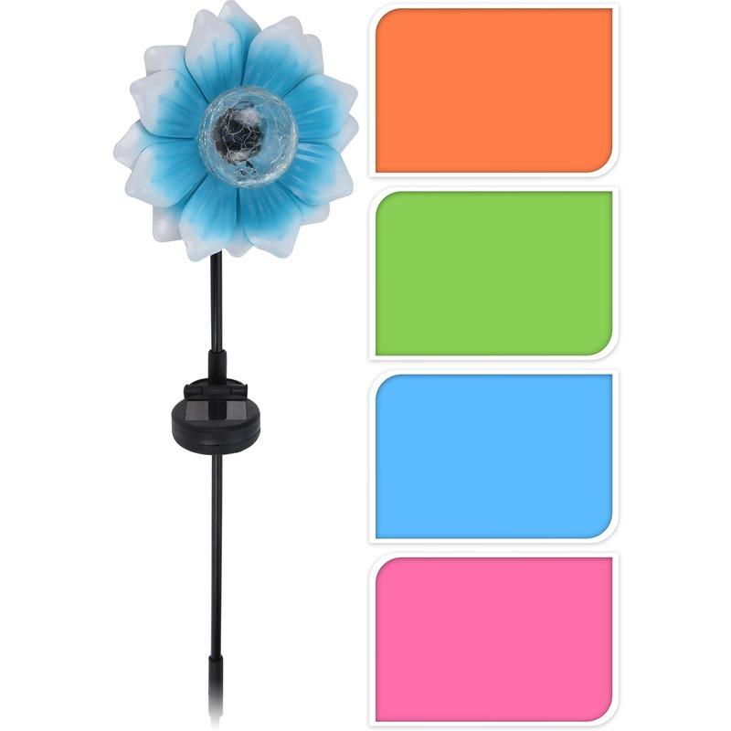 Blauwe bloem tuinlamp 81 cm