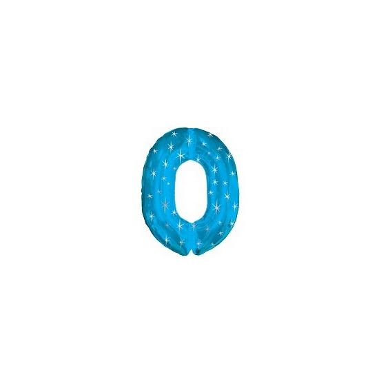 Blauwe cijfer ballon 0 met helium