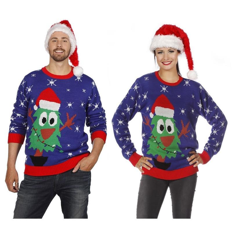 Foute Kersttrui Volwassenen.Blauwe Kerst Sweater Met Kerstboom Voor Volwassenen Voor Een Disco Party