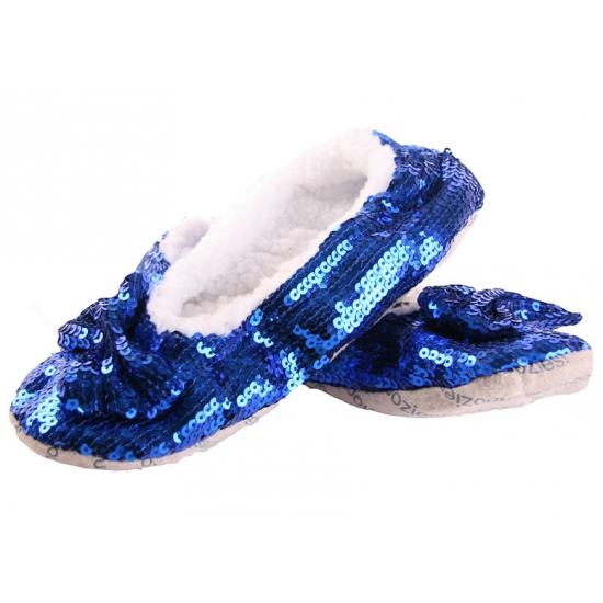 Blauwe sloffen met pailletten